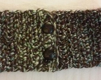 Thick and Chunky Crochet Cowl Scarf - Brown and Green With 2 Beautiful Buttons