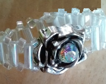 Flower and Crystal Pinky Ring with Clear Banding