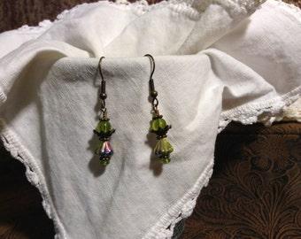 Peridot Green Flower Cap Earrings