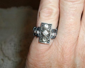 Long Silver and Crystal Stretch Pinky Ring