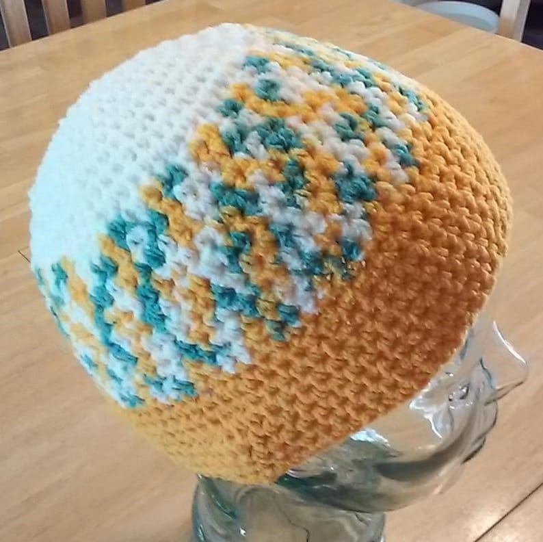 Sea Foam Green and Ivory Crochet Beanie Gold