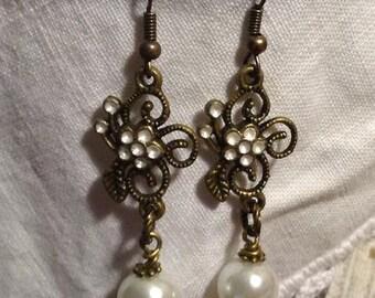 Flower and Pearl Dangle Earrings