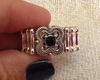 Flower With Black Crystal Pinky Ring