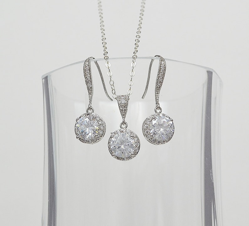 Rose Gold Filled Bridal Cubic Zirconia Jewelry Set Earrings Necklace Ear Wires  Sydney Set Sterling Silver Chain