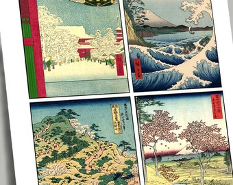 JAPANESE MASTERS 12 Greeting Card Size 3.5 X 5 Digital Printable Graphics for Cards Tags Gift Cards Stationery Collage Decoupage GC 4