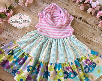 Girls Knit Tank Dress with Cowl Neck Pink and Floral RTS 4T and Made to Order