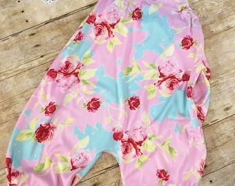 Pink Aqua and Yellow Floral Knit Girls Hip Hop Playsuit Jumpsuit Romper