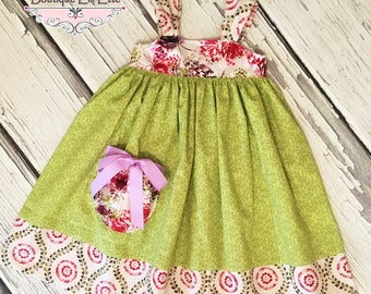 Girls Reverse Knot Dress with Pocket Monet Collection by Boutique Elli'Ette