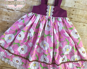 Girls Reverse Knot Dress Pink Floral and Plum Toddler Infant Girls