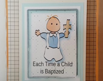 Baby Baptism Card - Christening Card for Boy - Baby Boy Christening Card - Baptism Card for Him - Religious Card and Matching Envelope