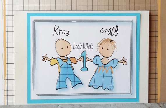 twins first birthday card personalized birthday card for etsy