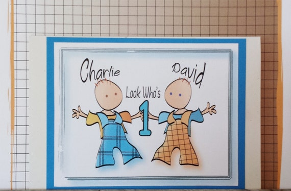 twins first birthday card personalized twin birthday card etsy