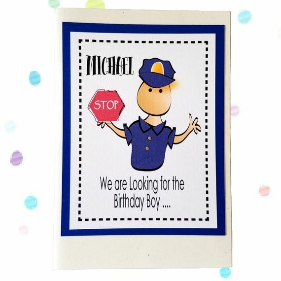 Items Similar To Policeman Birthday Card For Child