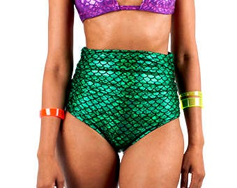 b47adb7bc0d93 Green Mermaid High Waisted Swim Bottom- Mermaid Bikini- High Rise Bikini  Bottom- Halloween Costume- Fish Scale Swimsuit- Cosplay- Unisex