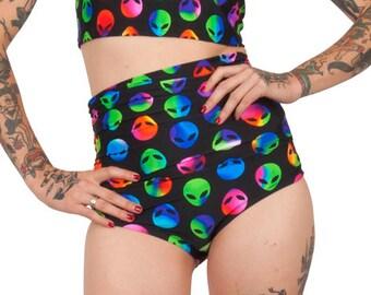 97fbcdf6045b6 Rainbow Martian High Waisted Swim Bottom- Alien Bikini Bottom- High Rise  Alien Bikini- Cosplay- Alien Swimsuit- Unisex- Rave- Burning Man