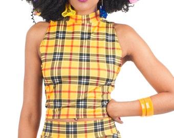 3f71d27cca Yellow Plaid Turtleneck Crop Top-Clueless Costume- Halloween Costume- Tartan  Plaid Top- Preppy Top-90s Style Crop Top- Cosplay-Cher Horowitz