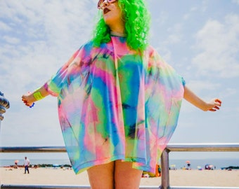d23c4abd6b9f3 Rainbow Tie Dye Mesh Tent Dress- Swimsuit Cover Up- Loungewear- Rave  Costume- Plus Size Top- Beach Wear- Music Festival- Burning Man
