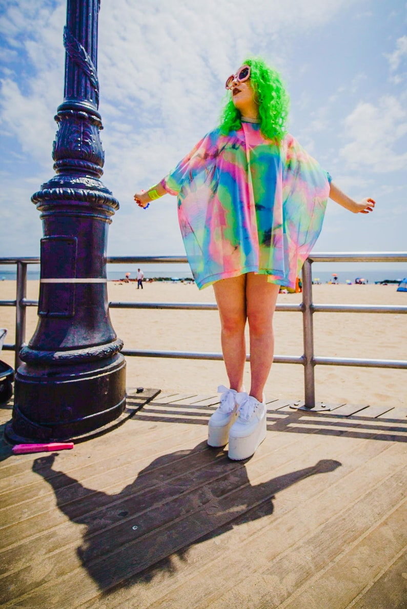 Rainbow Tie Dye Mesh Tent Dress- Swimsuit Cover Up- Loungewear- Rave  Costume- Plus Size Top- Beach Wear- Music Festival- Burning Man