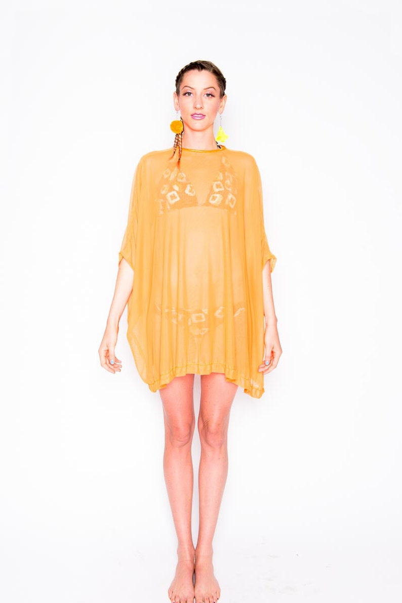 Orange Mesh Tent Dress Neon Orange Dress Orange Mesh Top | Etsy