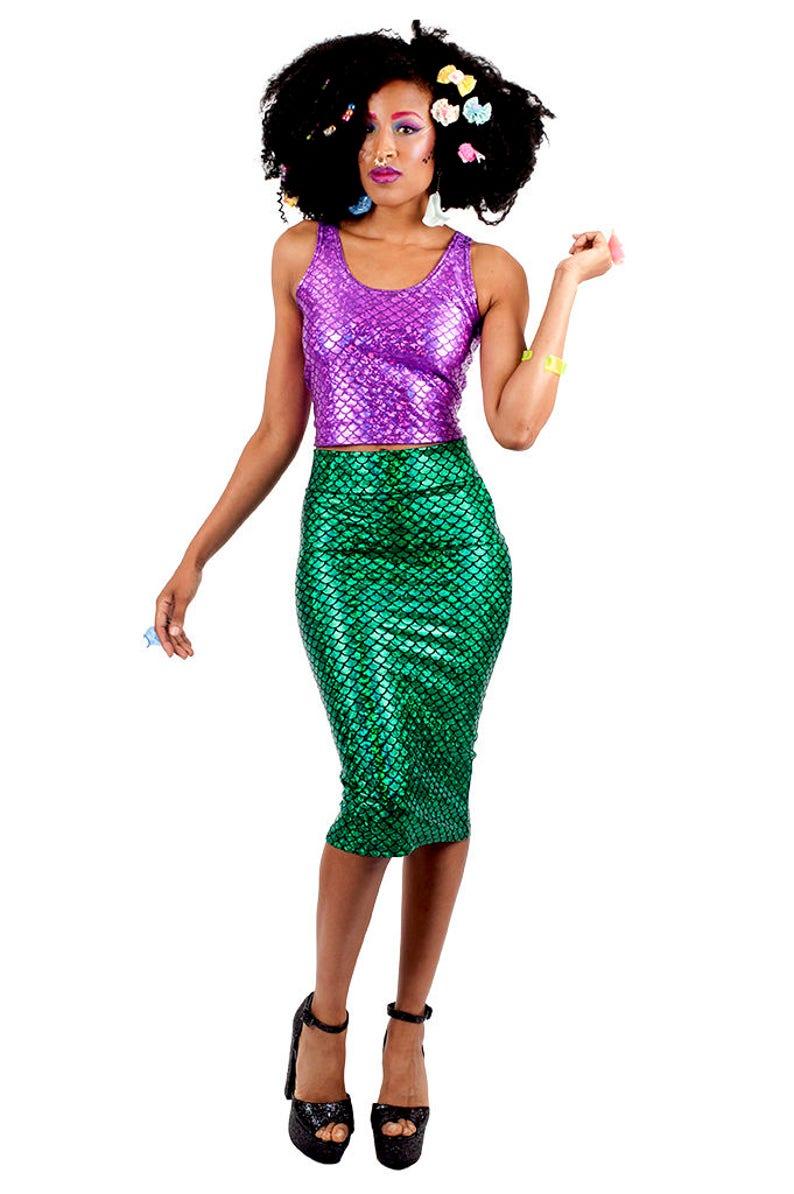 f93366ea98c1 Purple Mermaid Tank Top Mermaid Crop Top Fish Scale Top   Etsy