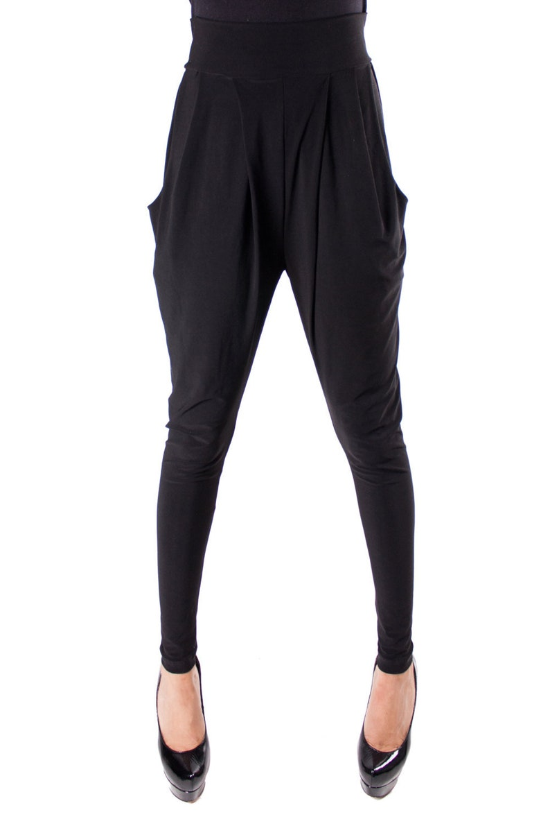 best selection of biggest discount for whole family Black Pleated Harem Pants with Pockets- Black Baggy Pants-Black Pleated  Slacks- Black Harlem Pants- Rave Dance Costume- Burning Man Pants