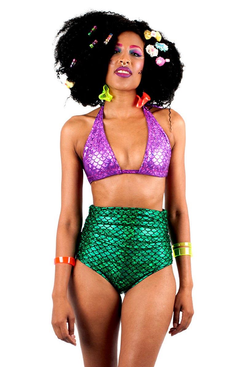 6adbbf159e8df Green Mermaid High Waisted Swim Bottom Mermaid Bikini High