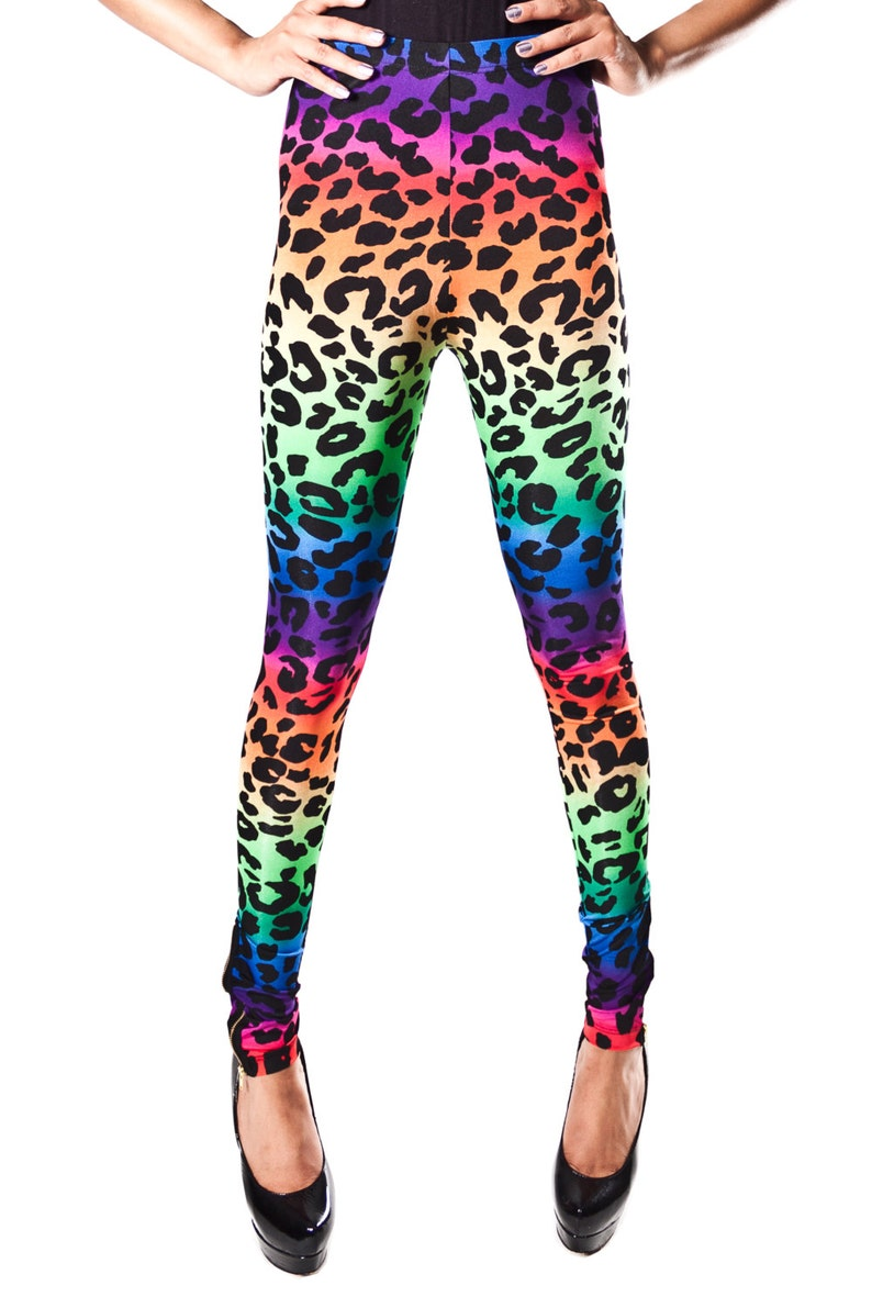 5c4b2711585977 Rainbow Ombre Leopard Lisa Frank Leggings with Ankle Zipper | Etsy