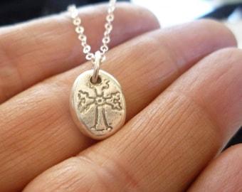 Armenian Cross Necklace-Sterling Silver Cross-Armenian Orthodox Cross Necklace