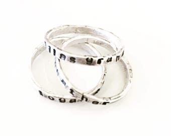 Hand Stamped Armenian Alphabet Ring-Armenian Jewelry