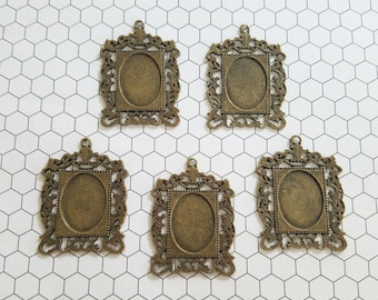 Set of 5 (five) 35x47mm Bronze Rectangle Ornate Pendant Tray Cameo Setting Bezel Resin