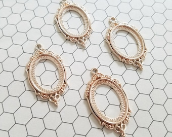 Set of 4 (four) 18x25mm Oval Rose Gold Ornate Open Back Pendant Tray Cameo Setting Bezel