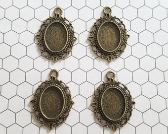 Set of 4 (four) 18x13mm Bronze Oval Ornate Pendant Tray Cameo Setting Bezel Resin