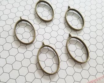 Set of 10 (ten) 24x39mm Oval Bronze Open Back Pendant Tray Setting Bezel for Resin