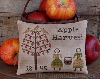Apple Harvest...Primitive PAPER Cross Stitch Pattern By The Humble Stitcher