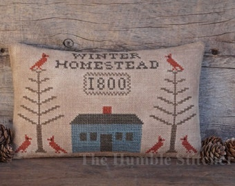 Winter Homestead...Primitive PAPER Cross Stitch Pattern By The Humble Stitcher