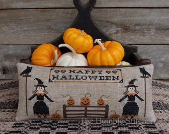 Happy Halloween...Primitive PAPER Cross Stitch Pattern By The Humble Stitcher