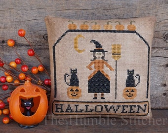 Witch's Night...Primitive PAPER Cross Stitch Pattern By The Humble Stitcher