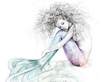 8x10 inch PRINT Tranquil Mermaid Art Unframed Colour Splash Rainbow Tail Pencil Drawing