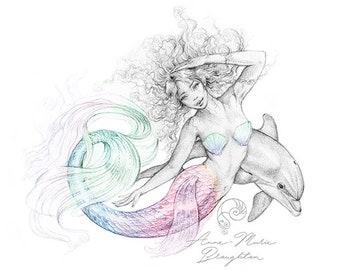 8x10 inch PRINT Water Dancer Mermaid Art Unframed with Dolphin Colour Splash Rainbow Art Pencil Drawing