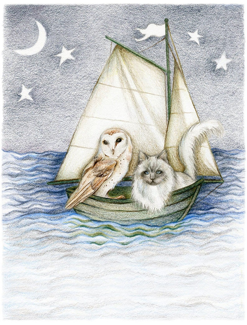 31fb609cc 8x10 inch PRINT Owl & The Pussycat Nautical Nursery Art Sail | Etsy
