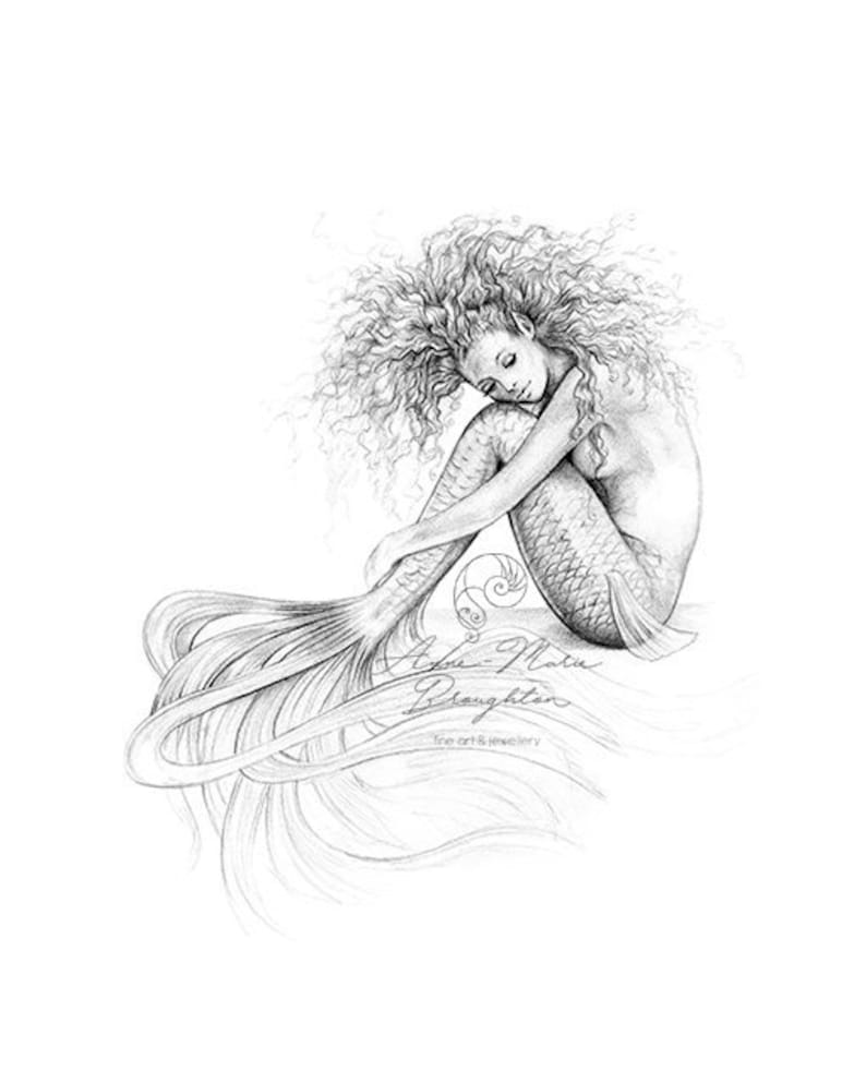 8x10 inch PRINT Tranquil Mermaid Art Unframed Graphite Pencil image 0