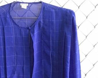 Indigo Grid Blouse Size 12