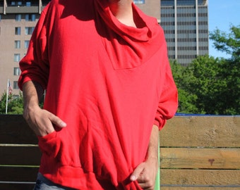 SALE - Red Swoop Neck Sweatshirt