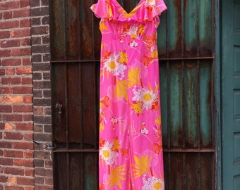 Floor Length Retro Maxi Dress - Size 16