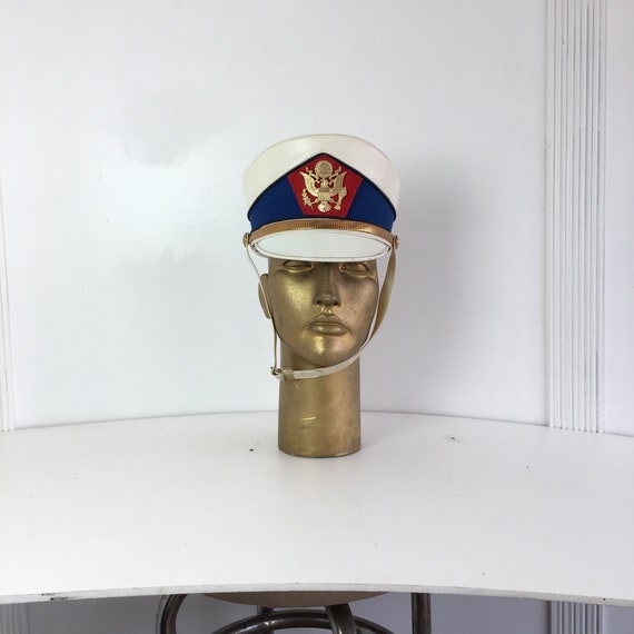 White Captain Hat Eagle on Front - Size M