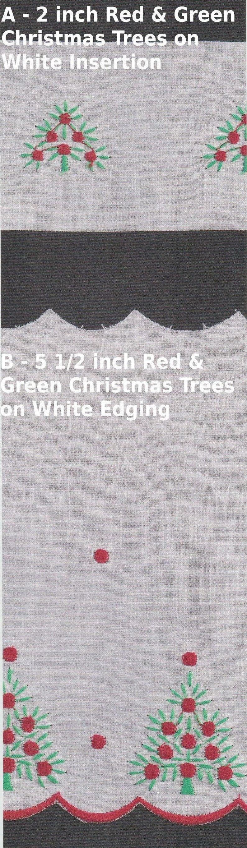 Matching Christmas Embroidery Insertion and Wide Edging Red and Green Christmas Trees on White Swiss Batiste Doll Dress Supplies