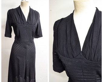 1940s Black rayon crepe sheer stripe shelf bust style dress / 40s bias skirt shaped bust day or evening dress - S