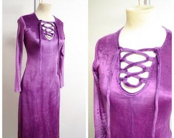 1970s Purple velour lace up neck dress / 70s lattice pilgrim psych velvet dress - S