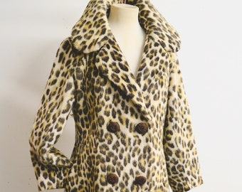 1960s Leopard print faux fur double breasted coat / 60s fake animal fur fitted coat - S M