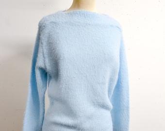 1950s Fluffy baby blue slash neck sweater - 60s Orlon knit pastel blue jumper top - M L